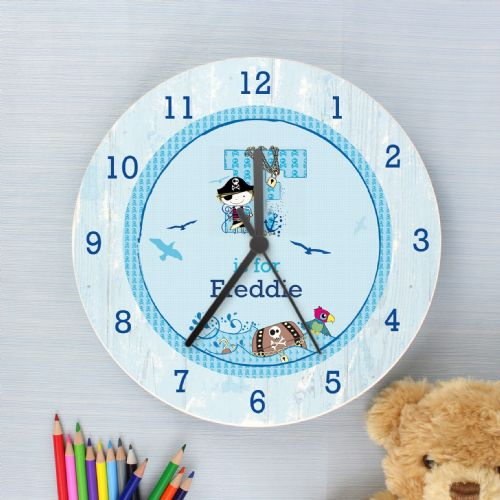 Pirate Shabby Chic Wooden Clock